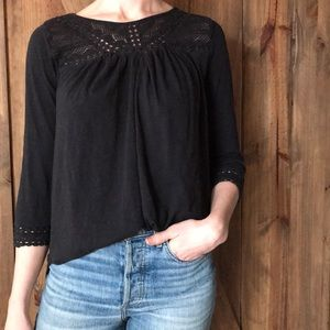 3/4 length boho cotton blouse